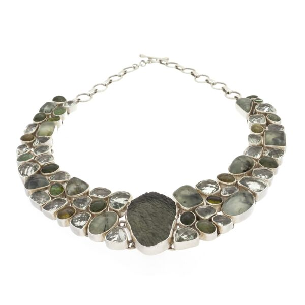 Closeup photo of Moldavite Necklace Collar With Prehnite & Epidote, Prasiolite And Tourmaline