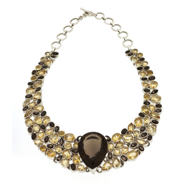 Closeup photo of Smoky Quartz & Citrine Necklace Collar