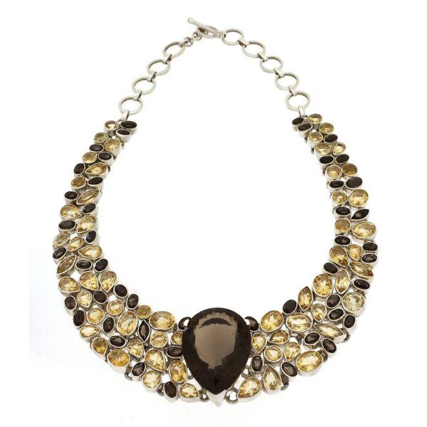 Closeup photo of Smoky Quartz & Citrine Necklace Collar