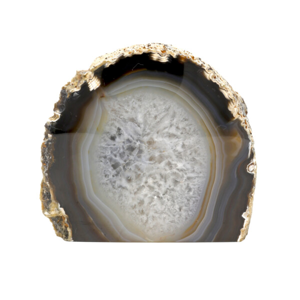 Closeup photo of Agate Cut Base With White Center & Dark Brown Outer Layer