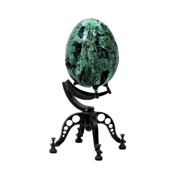Closeup photo of Malachite Egg On Custom Spinning Stand