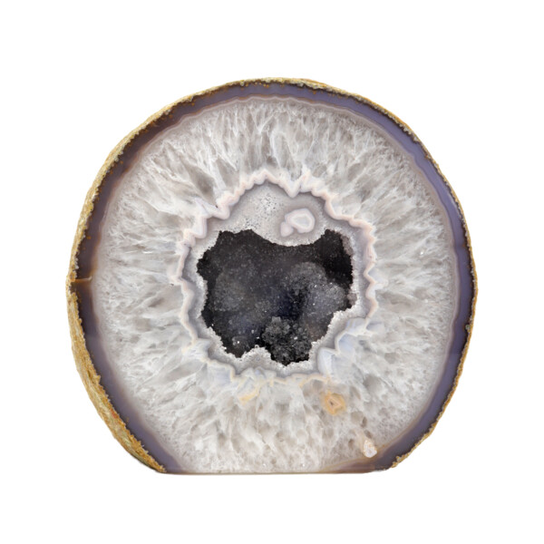 Closeup photo of Agate Cut Base With Gray Druzy Center