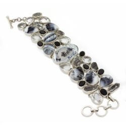 Closeup photo of Dendritic Opal Bracelet With Herkimer Diamonds, Black Spinel, And White Topaz