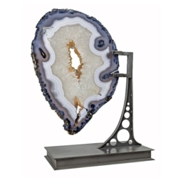Closeup photo of Agate Slice On Custom Industrial Stand