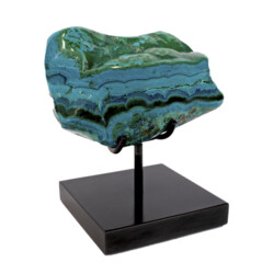 Closeup photo of Chrysocolla & Malachite On Custom Stand -Horizonal Banding