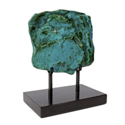 Closeup photo of Chrysocolla Malachite On Custom Stand -Polished