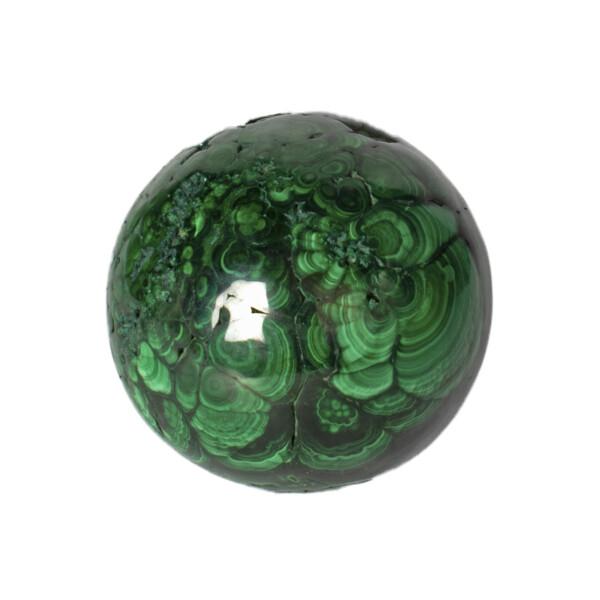 Closeup photo of Malachite Sphere Polished 4 Inch Dia