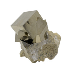 Closeup photo of Cubic Pyrite Cluster With Bonded Crystal