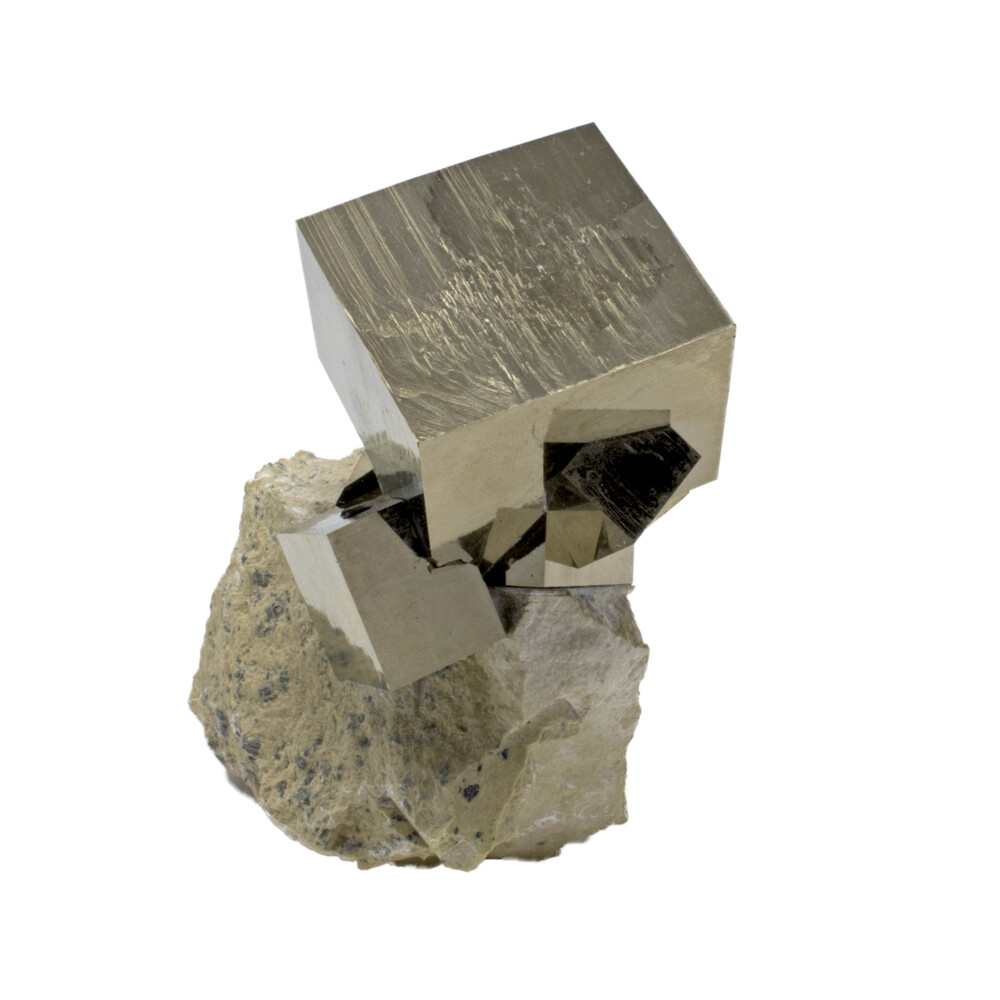 Cubic Pyrite Cluster With Bonded Crystal