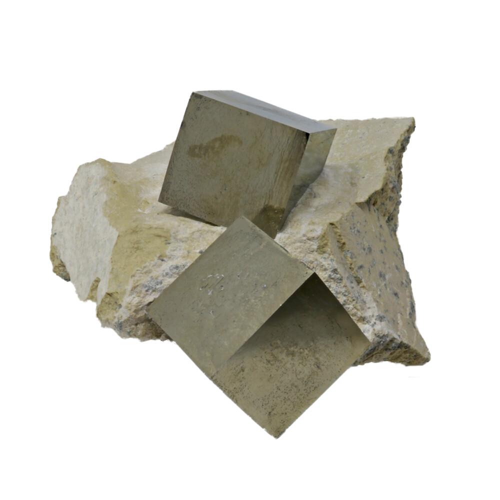 Cubic Pyrite Single Crystals In Matrix