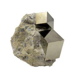 Closeup photo of Cubic Pyrite Crystals -Bonded Set In Matrix