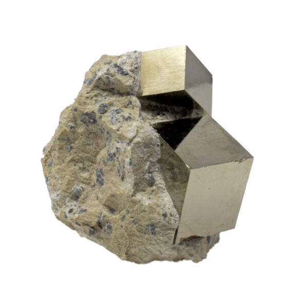 Closeup photo of Cubic Pyrite Crystals -Bonded Set In Matrix