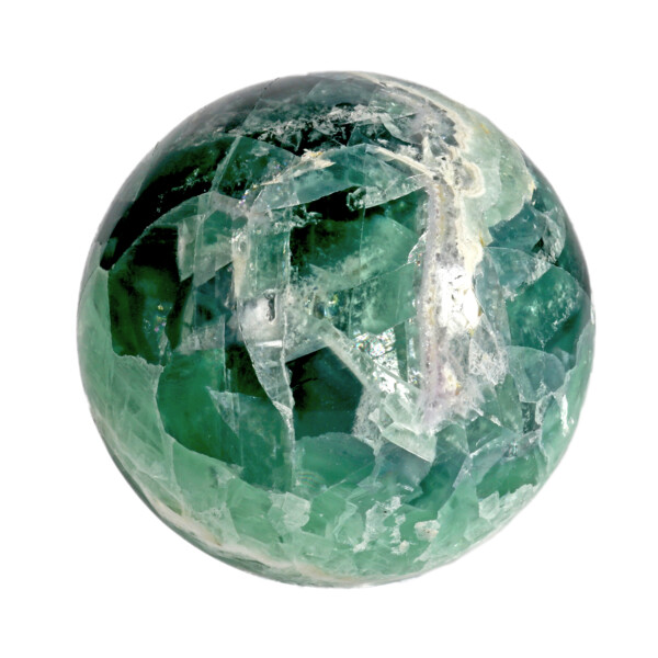 Closeup photo of Fluorite Banded Sphere With Acrylic Stand