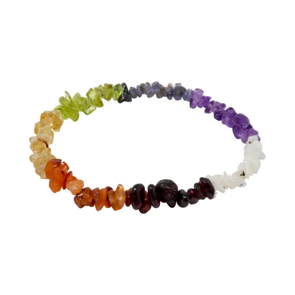 Closeup photo of 7 Chakra Chip Bracelet