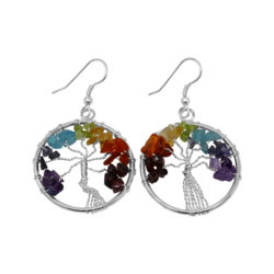 Closeup photo of 7 Chakra Tree Of Life Earrings