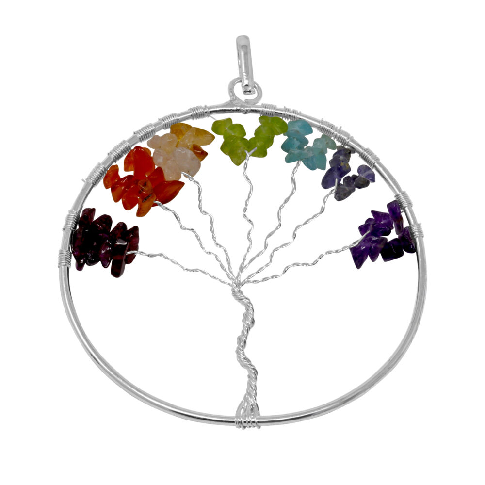7 Chakra Tree Of Life Pendant - Large