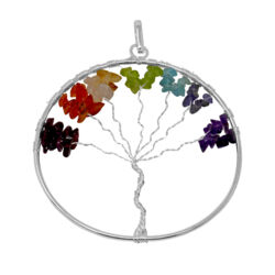 Closeup photo of 7 Chakra Tree Of Life Pendant - Large