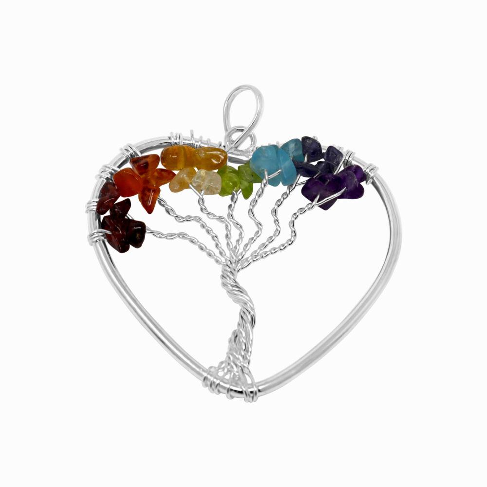 7 Chakra Tree Of Life Heart Pendant