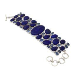 Closeup photo of Lapis Lazuli Bracelet W/kyanite Cabochons -Oval