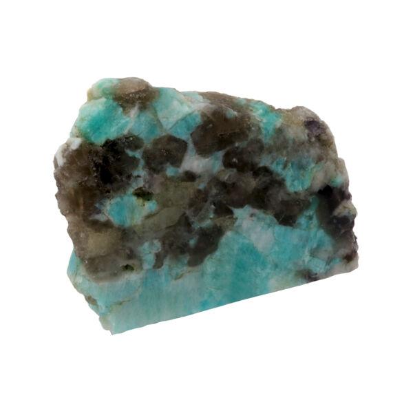 Closeup photo of Amazonite Slice In Quartz with Feldspar Inclusions