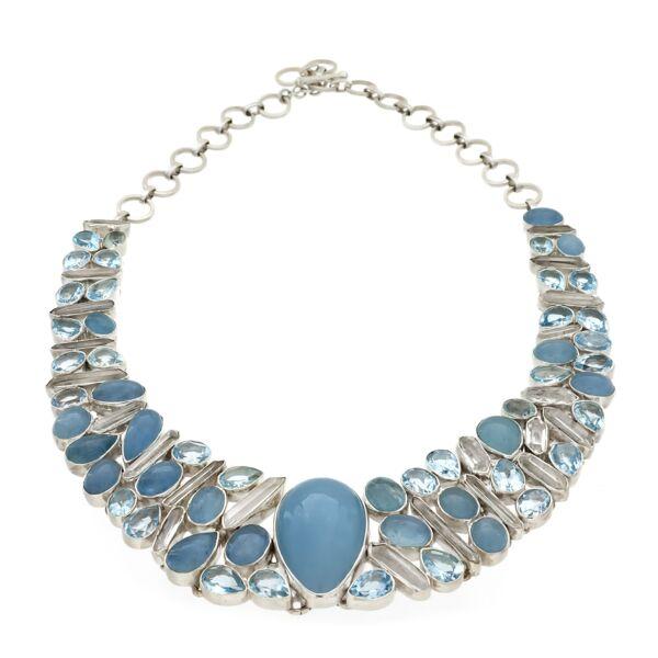 Closeup photo of Aquamarine Necklace -Collar With Quartz Crystals & Blue Topaz