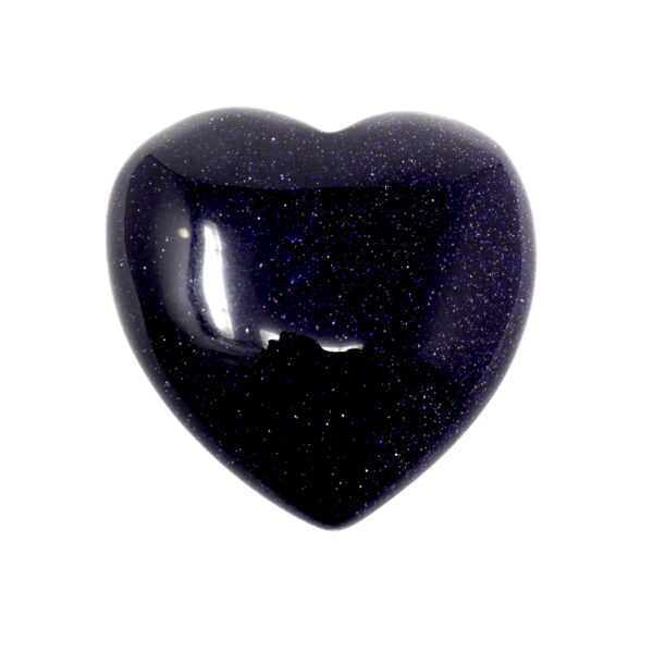 Closeup photo of Blue Goldstone Heart 30mm