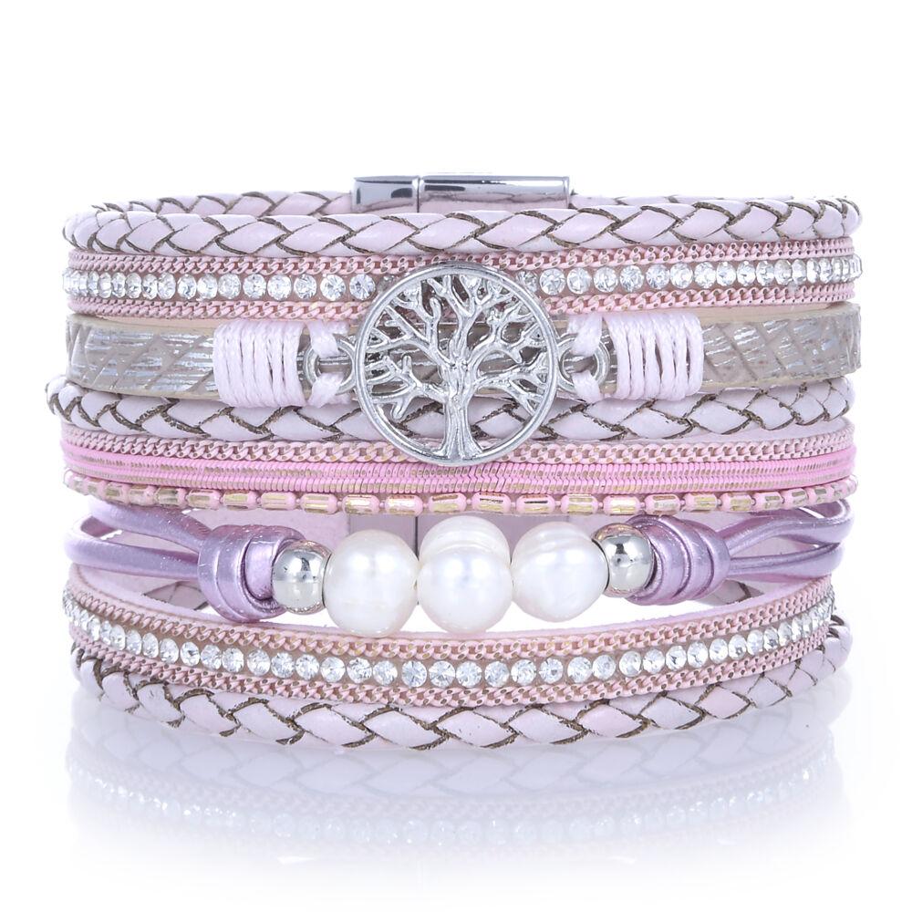 Pink Tree Of Life Wrap Bracelet