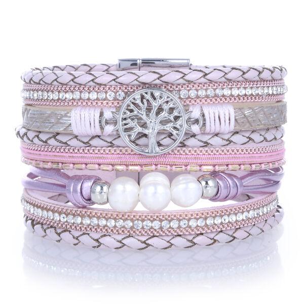 Closeup photo of Pink Tree Of Life Wrap Bracelet
