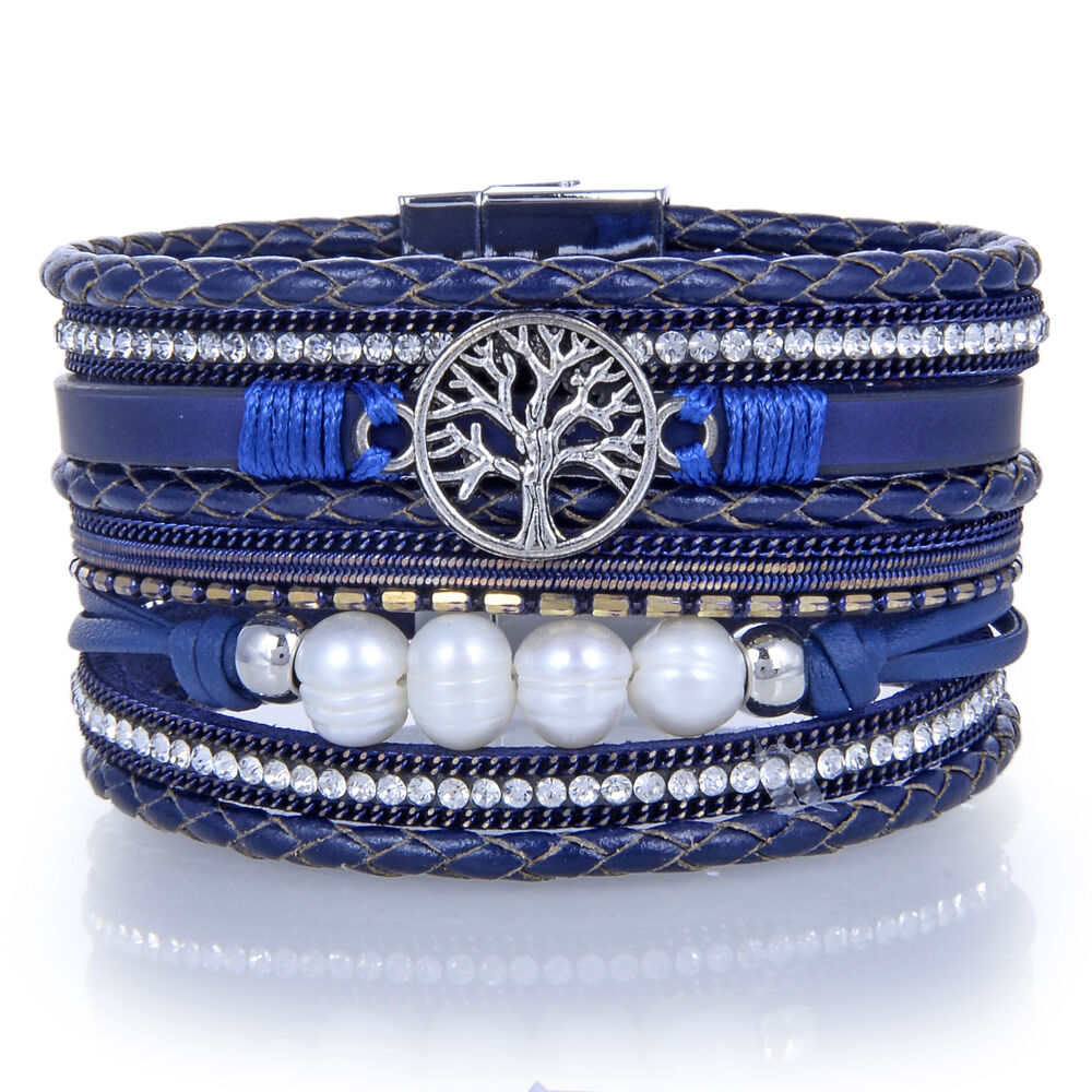 Navy Tree Of Life Multi Wrap Bracelet