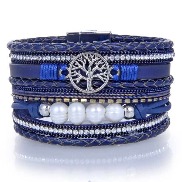 Closeup photo of Navy Tree Of Life Multi Wrap Bracelet