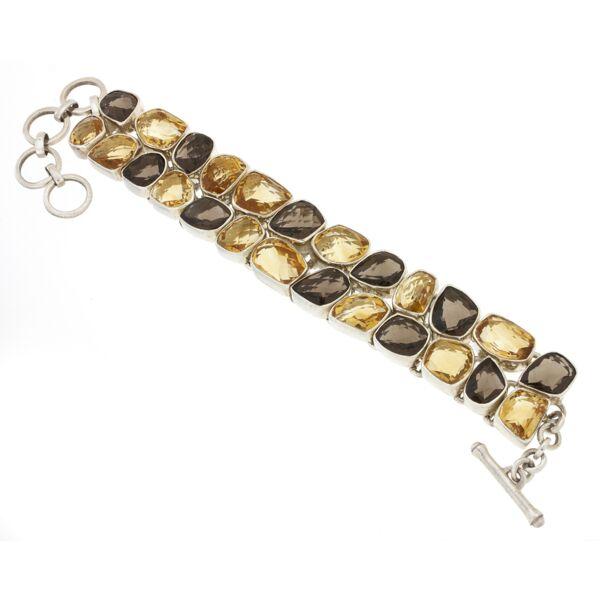 Closeup photo of Citrine & Smoky Quartz Bracelet Faceted