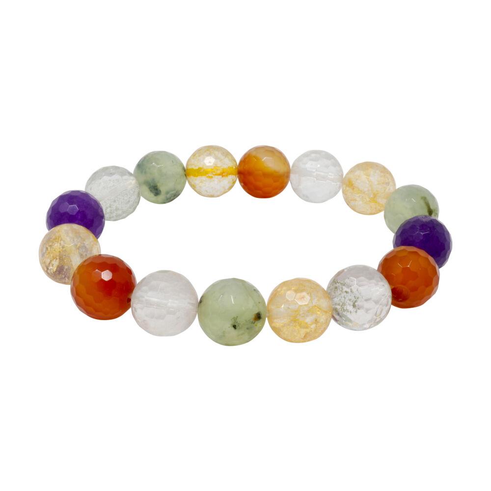 Mix Gemstone 11mm Faceted Round Bracelet