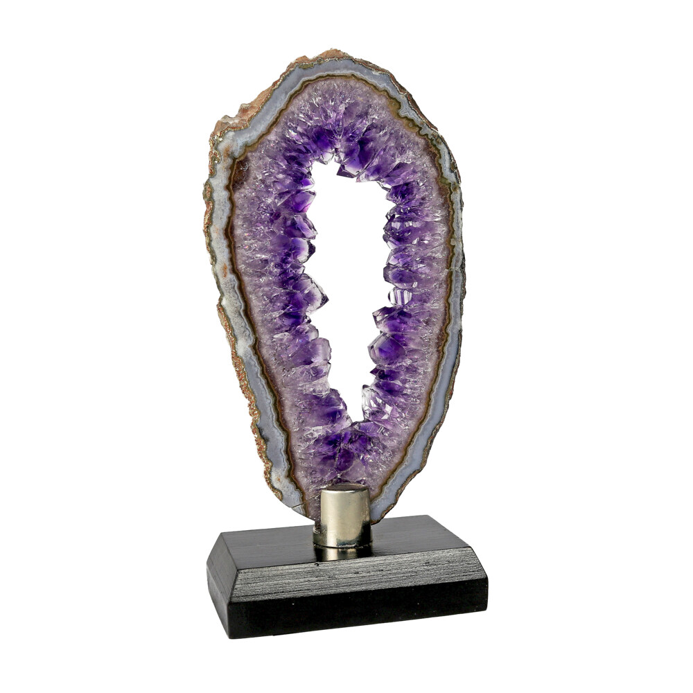 Agate Slice -Amethyst With Void Center & Gray Exterior