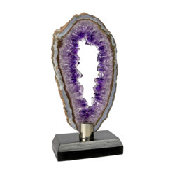 Closeup photo of Agate Slice -Amethyst With Void Center & Gray Exterior