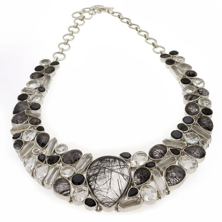 Black Rutile Quartz Necklace -Collar With Black Spinel, Faceted Quartz & Crystals