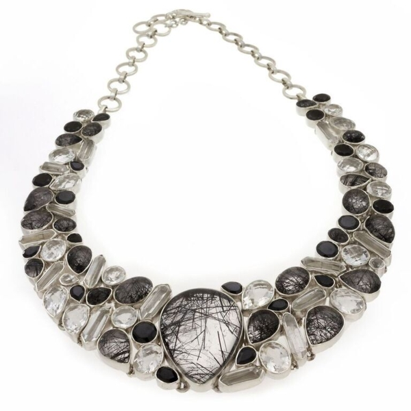 Closeup photo of Black Rutile Quartz Necklace -Collar With Black Spinel, Faceted Quartz & Crystals