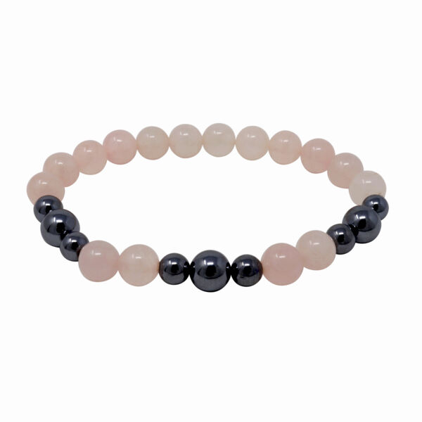 Closeup photo of Rose Quartz & Terahertz Bracelet 8mm