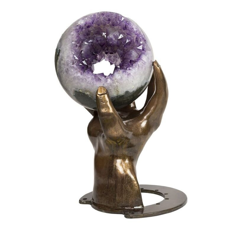 Amethyst Tunnel Sphere Of Crystals With Custom Hand Metal Base