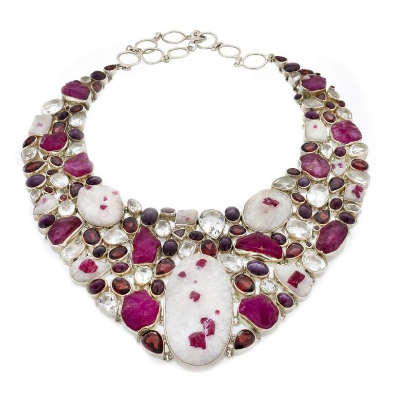 Ruby Collar Necklace Rough In Matrix (Set)