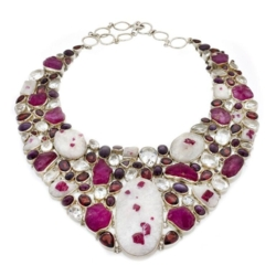 Closeup photo of Ruby Collar Necklace Rough In Matrix (Set)