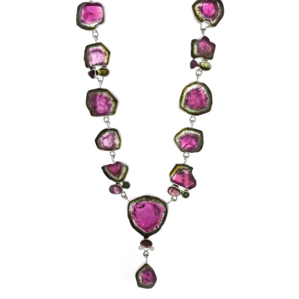 Closeup photo of Watermelon Tourmaline Necklace Polished Slice & Cabachon