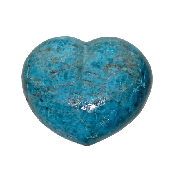 Closeup photo of Blue Apatite Heart 3""