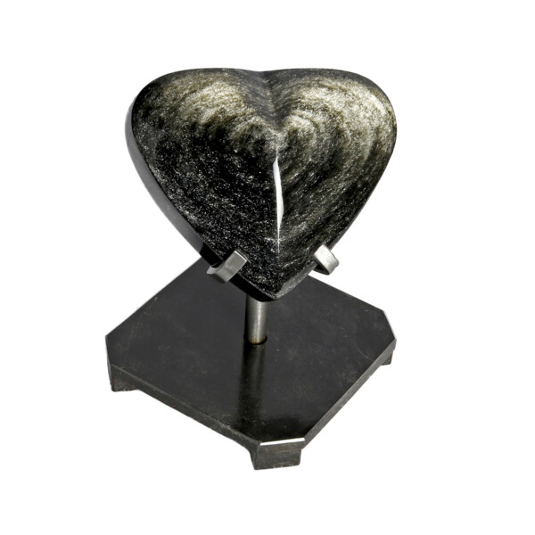 Closeup photo of Silver Sheen Obsidian Heart In Custom Stand