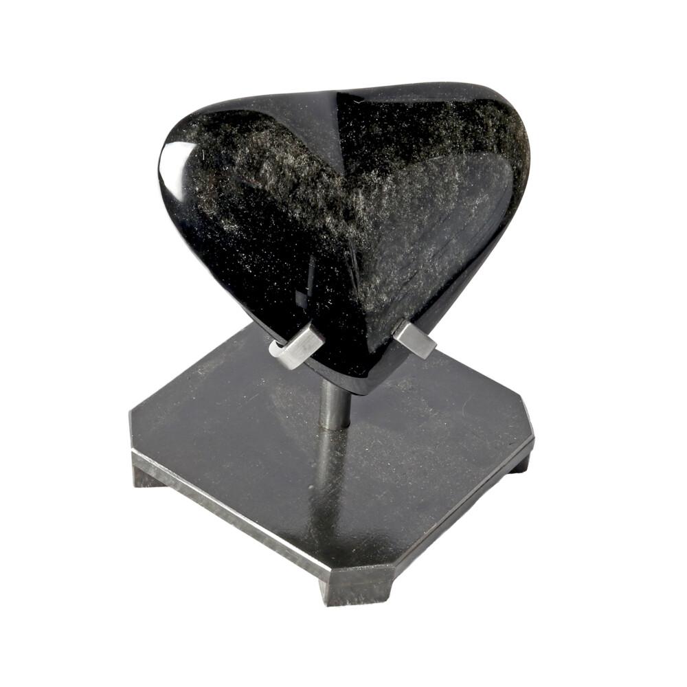Silver Sheen Obsidian Heart In Custom Stand
