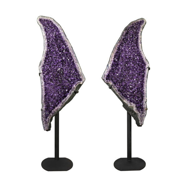 Closeup photo of Amethyst Geode Pair On Fitted Separate Stands