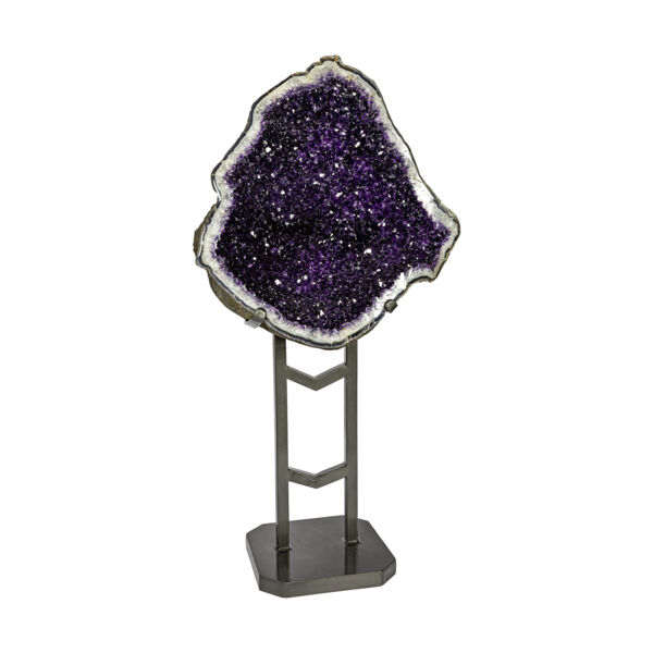 Closeup photo of Amethyst Geode -Clean Jelly Purple In Custom Fitted Stand