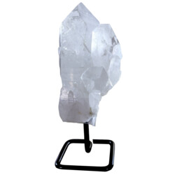 Closeup photo of Quartz Point Cluster On Rounded Square Post Stand
