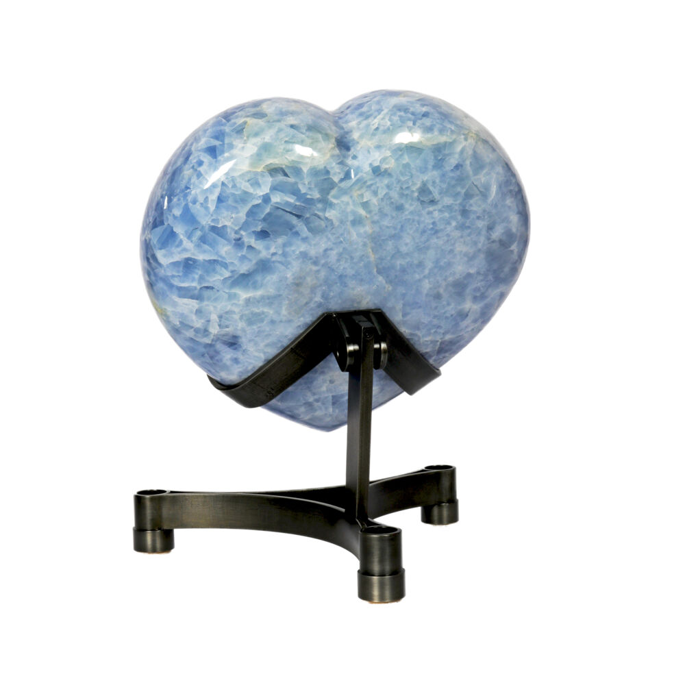 Blue Calcite Heart On Custom Stand