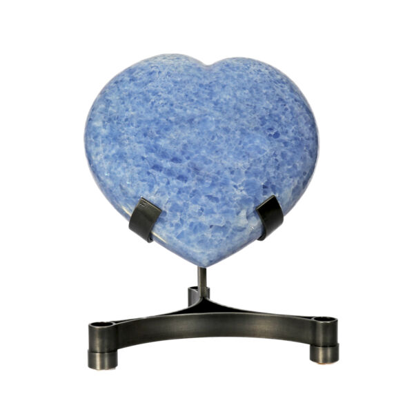 Closeup photo of Blue Calcite Heart On Custom Stand