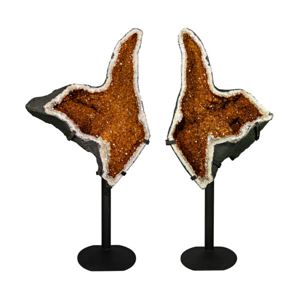 Closeup photo of Citrine Geode Pair On Fitted Separate Stands